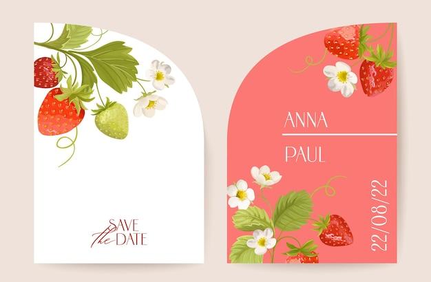 モダンなアールデコ調の結婚式のベクトルの招待状、植物のイチゴの自由奔放に生きるカード。ベリー、葉、熱帯の花のポスター、花のフレームテンプレート。日付を保存するトレンディなデザイン、誕生日パーティーのパンフレット