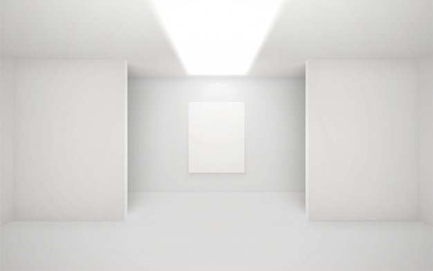 Modern art gallery interior. architectural illustratrion of museum hall. exposition space with minimal white walls.