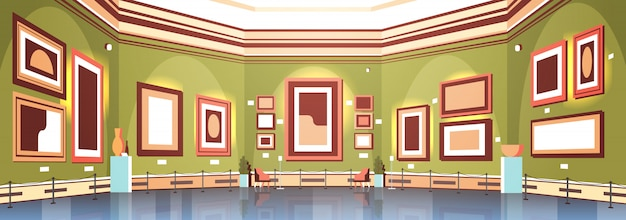 Modern art gallery in museum interior creative contemporary paintings artworks or exhibits