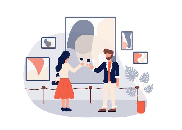 Modern art gallery opening man woman drink wine