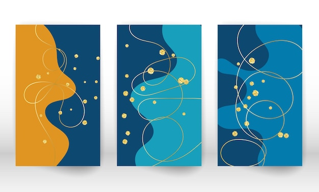 Modern art painting. set of fluid shapes and lines. minimalist hand painted liquid shapes, gold particles. modern art background.