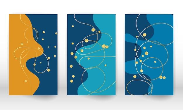 Живопись современного искусства. набор жидких форм и линий. минималистичная ручная роспись жидких форм, золотые частицы. предпосылка современного искусства.