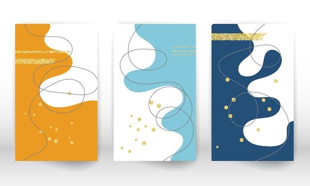 現代美術の絵画。流体の形状と線のセット。ミニマリストの手描きの液体の形、金の粒子。