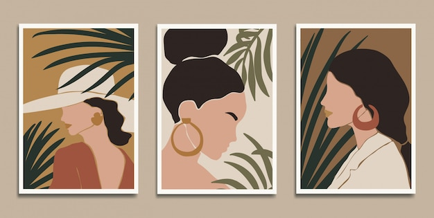 Modern art prints in boho style.