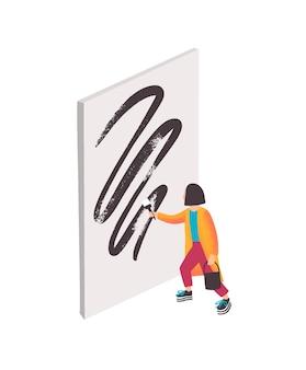 Современный художник векторные иллюстрации. девушка из мультфильма рисует абстрактные произведения искусства черной масляной краской на белом холсте. современное искусство, выставка. художница, создающая шедевр.