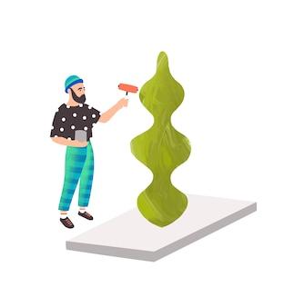 현대 예술가 벡터 일러스트 레이 션. 조각품을 만드는 세련된 남자. 추상 미술, 현대 미술, 전시회. 흰색 배경에 고립 된 걸작을 만드는 남성 조각가 캐릭터.
