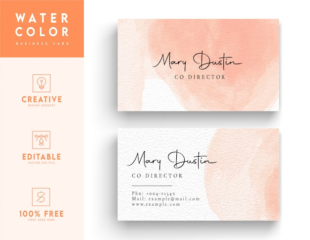 Modern artistic watercolor business card template  - pink color business card