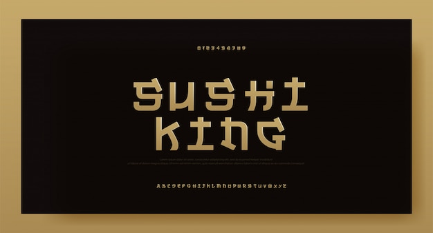Modern asia gold alphabet font. typography japan
