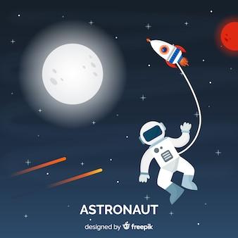 평면 디자인으로 현대 우주 비행사 캐릭터