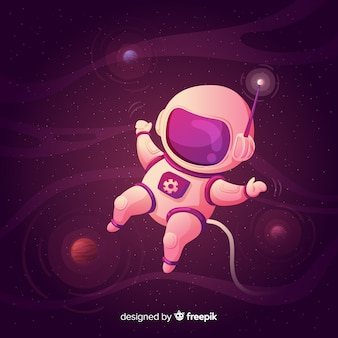 Modern astronaut composition with flat design