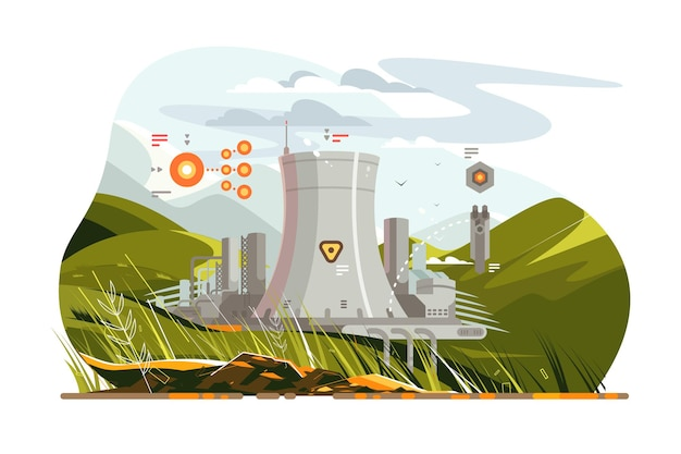 Modern atomic reactor vector illustration. big tube helping water steam evaporate faster and more efficient for producing big amount of high quality nuclear energy