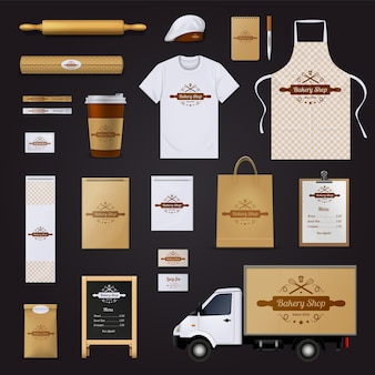 Modern authentic bakery shop corporate identity menu