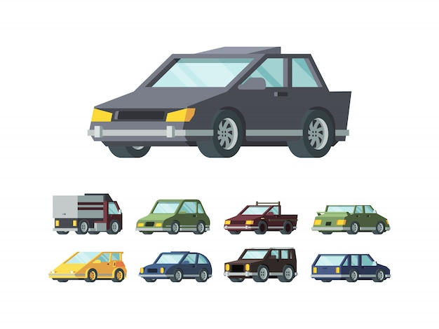 Modern automobiles models flat vector illustrations set