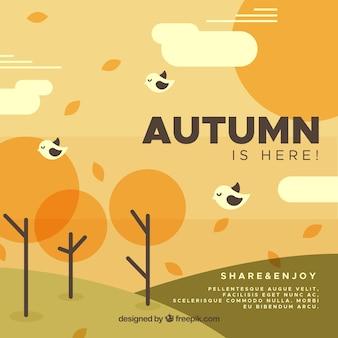 フラットデザインのモダンな秋の背景