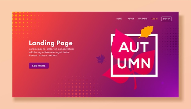 Modern autumn landing page with leaves for web