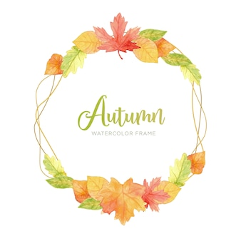 Modern autumn leaves frame