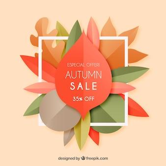 Modern autumn sale composition with flat design