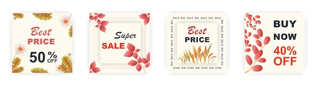 Modern autumn square sale poster templates social media posts with floral and geometric pattern