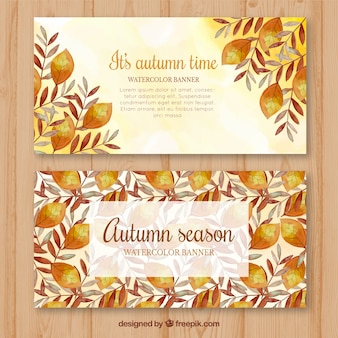 Modern autumnal banners with watercolor leaves