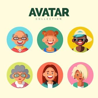 Collezione moderna di avatar con uno stile colorato
