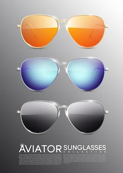 Modern aviator sunglasses set