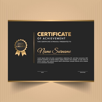 Modern award diploma certificate design template with dark background