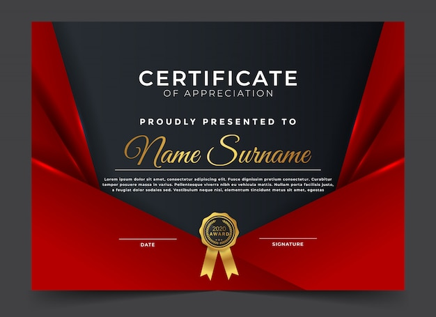 Modern award diploma certificate design template
