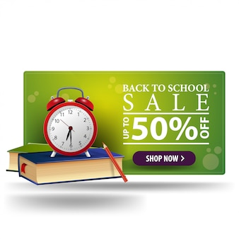 Modern back to school discount green 3d banner with button