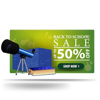 Modern back to school discount green 3d banner with telescope