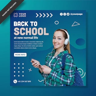 Modern back to school social media post template vector