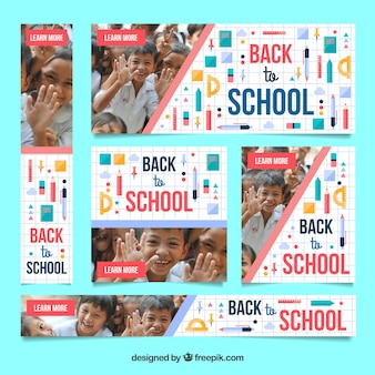 Modern back to school web banners
