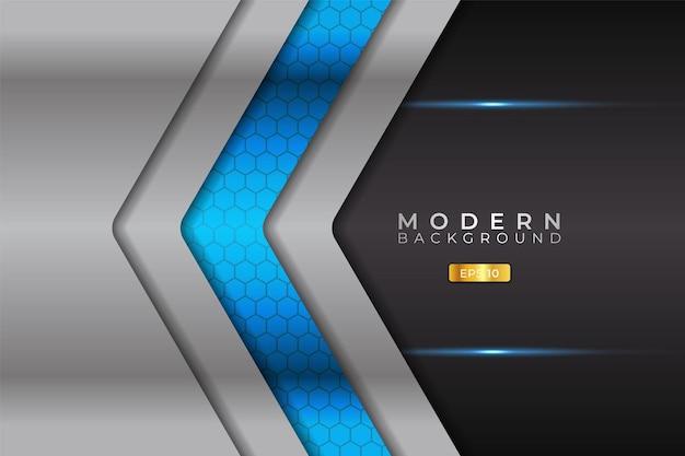 광택 있는 은색 금속과 현대 배경 화살표 미래 기술 블루