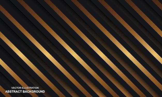 モダンな背景の黒いドープと金色の線
