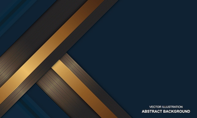 金色のラインの豪華なデザインとモダンな背景の青