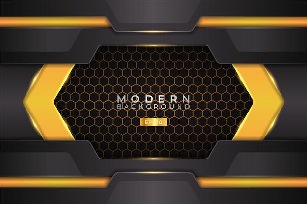 Modern background futuristic technology 3d realistic hexagonal yellow
