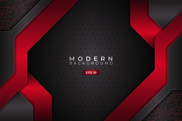 Современный фон футуристические технологии 3d реалистичный красный с металлическим серым