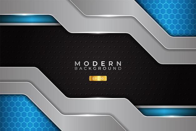 광택 있는 은색 금속과 현대 배경 미래 기술 블루