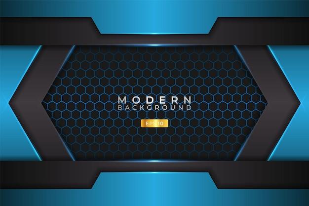 Modern background futuristic technology glossy blue with hexagon pattern