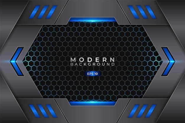 Modern background metallic 3d futuristic technology shiny blue with hexagon