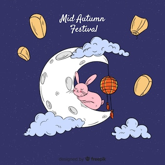Modern background for mid autumn festival in hand drawn style