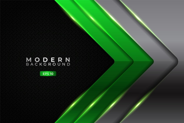 Modern background overlapped layer glowing green metallic arrow with silver