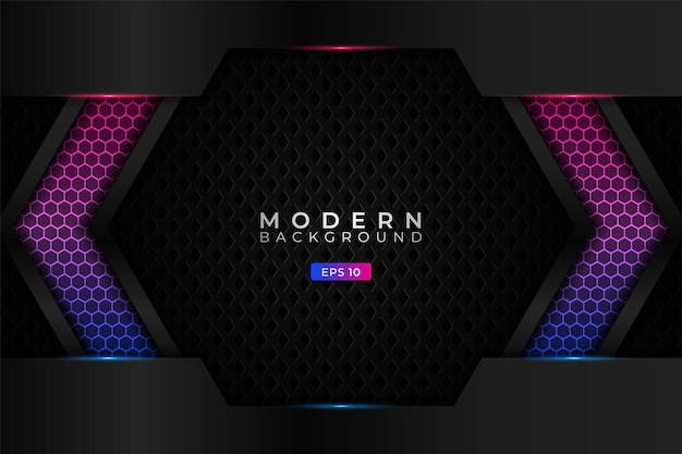 Modern background premium technology with realistic hexagon gradient blue pink pattern