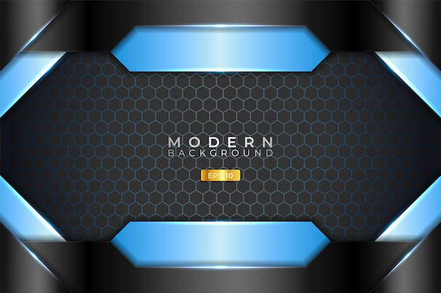 Modern background realistic 3d metallic glossy light blue and black