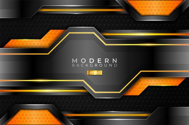 Modern background realistic 3d metallic glossy orange and silver