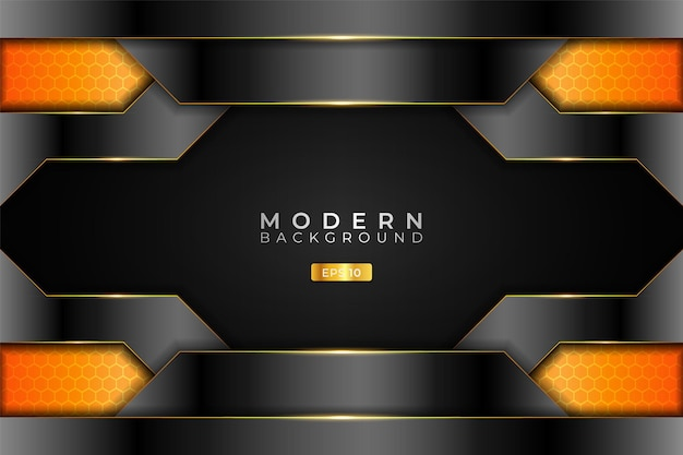 Modern background realistic 3d metallic technology glossy orange and silver