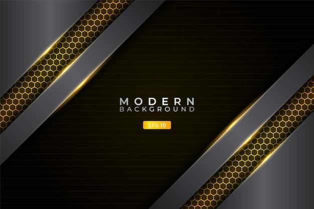 Modern background realistic diagonal metallic overlapped glow yellow