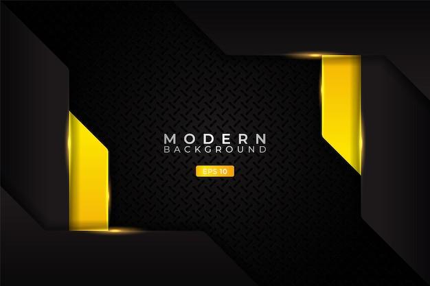 Modern background realistic metallic overlapped glow yellow