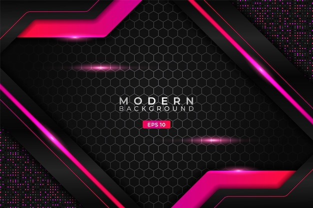 Modern background realistic technology diagonal glowing gradient pink metallic with hexagon pattern
