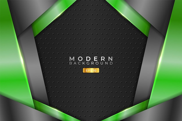 Modern background realistic technology overlapped 3d metallic green and grey