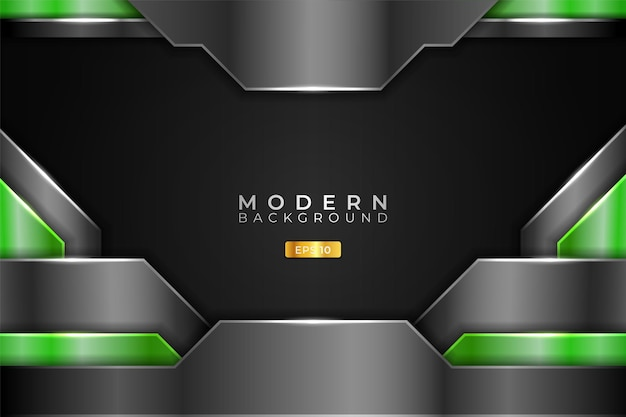 Modern background realistic technology overlapped 3d metallic shiny green and grey